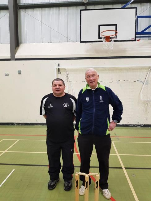 Organiser Peter Davies and umpire  Allan Hansen