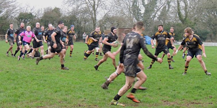 Owain Evans on a burst for Neyland