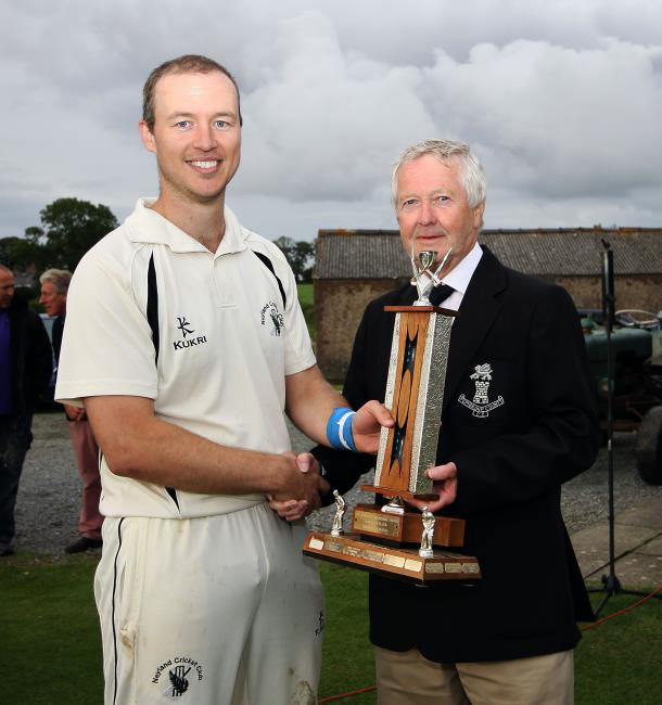 Man of match Paul Miller with PCCC President Nick Evans