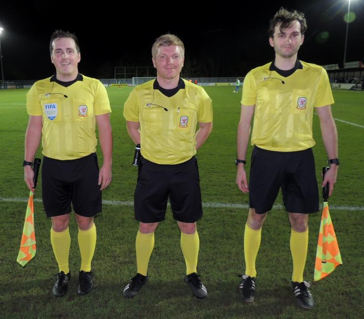 Referee David Morgan, Lewis Edwards and Harry Hendricks