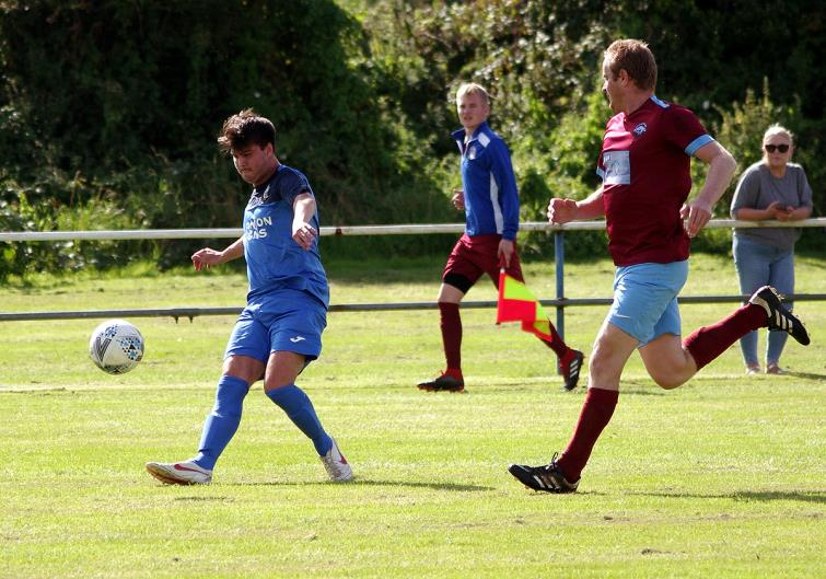 Ryan Griffiths has a shot at goal for Monkton Swifts