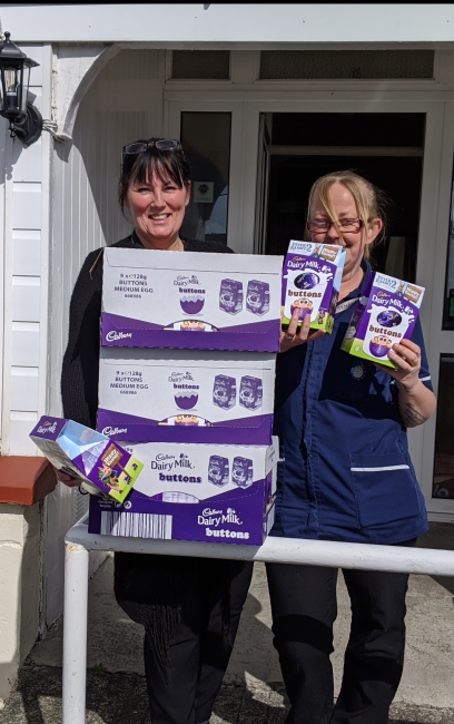 Staff receive Easter eggs