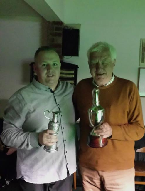 League secretary Malcolm King presents the Frank Richards Trophy to Gareth Aries