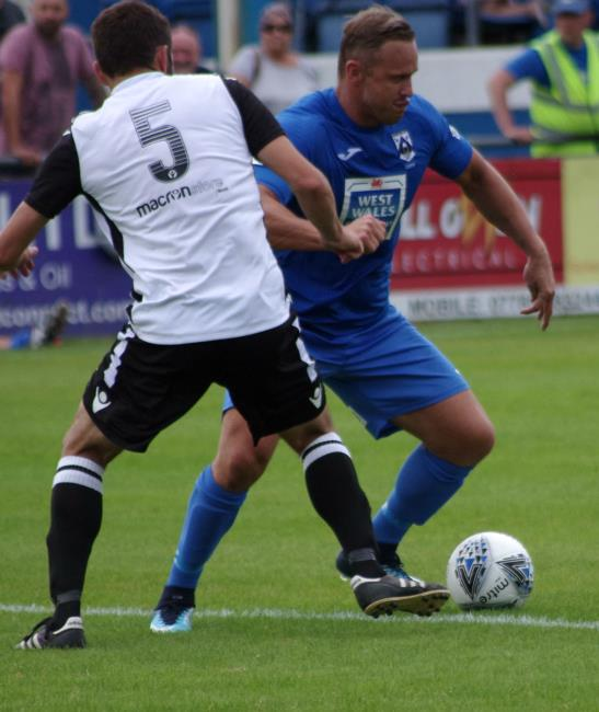 Lee Trundle scored from the spot on his debut for Haverfordwest County