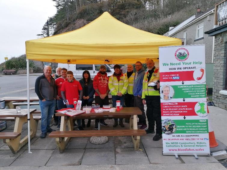 Pictured are some of the winners, Haydn Cole, Finan Williams, Michelle Paton, Ben Cook, and Llewellyn Rose in with members of Blood Bikes Wales who kindly turned up in support, on the day. (Picture by John O'Connor)