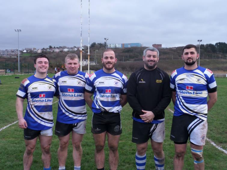 Fishguard try scorers (L to R) Thomas George, Liam Wilkes, Chris Shousha, Simon James, Kial Keane