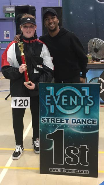 Kelci winning a 101 Events Street Dance competition