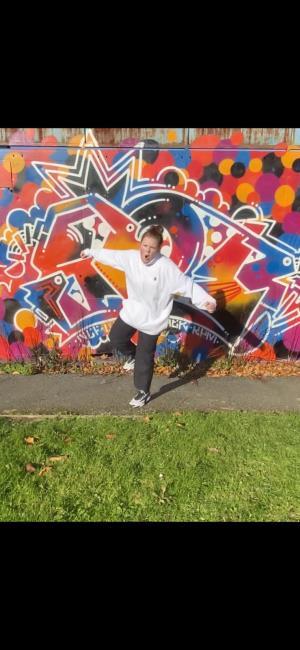 Kelci practising in the open air