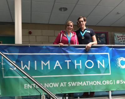 Pictured are Lisa Williams and Lisa Starkey from Fishguard Leisure Centre, who completed the Swimathon last year.